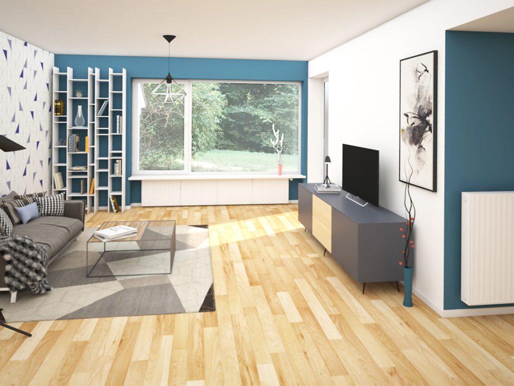 Virtuelles Homestaging Wohnzimmer skandinavisch Nachher