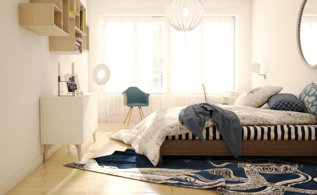 Virtuelles Homestaging - Schalfzimmer skandinavisch